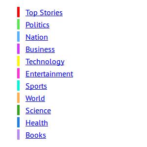 Newshound news sections